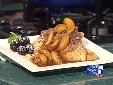French Toast with Bourbon Peaches