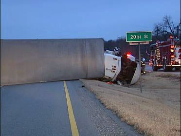 OHP: Blown Tire Causes Semi To Flip