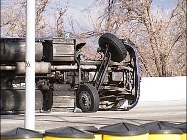 Semi Rolls On Its Side On Broken Arrow Expressway