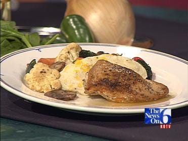 Osage Restaurant Stuffed Breast of Chicken With Jalapeno Cheese Grits
