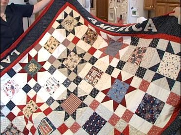 Mother Sews Quilts For Soldiers