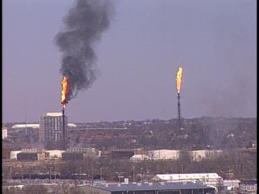 Flames Spotted At Refinery Smokestacks