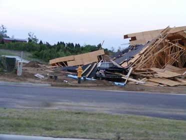 High Winds Demolish Hotel