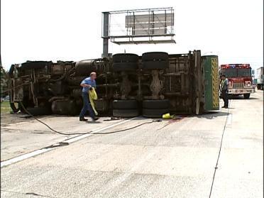 Waste Truck Dumps Trash On 169