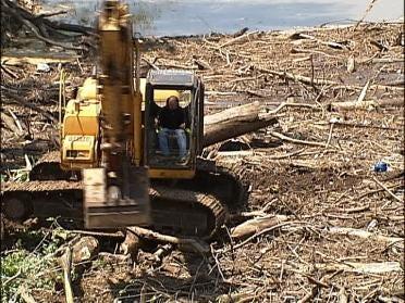 Log Jam Threatens Bridge Over Bird Creek