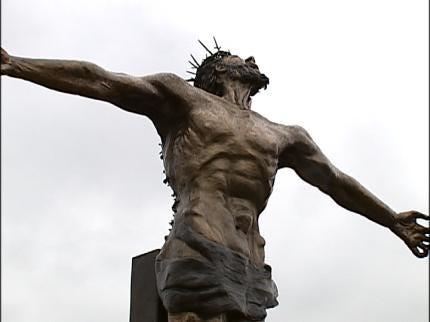 Large Jesus Statue On Display At ORU
