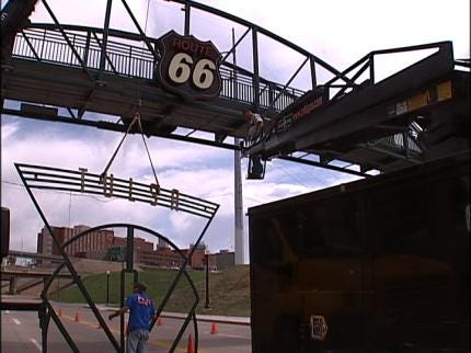 Route 66 Signs Replaced On Pedestrian Bridge