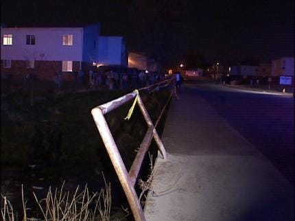 Driver Lands Car In Tulsa Creek Bed