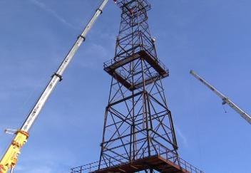 Nation's Tallest Derrick Erected for Route 66 Transportation Village