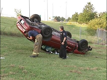 Driver Injured In Single-Car Rollover