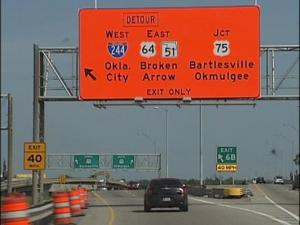 Construction Work Prompts Ramp Closures On Tulsa's IDL Overnight