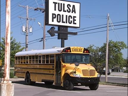 Tulsa Police Stuffing A Bus With School Supplies