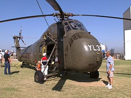 Jets And Helicopters Fly In To Tulsa Air & Space Museum