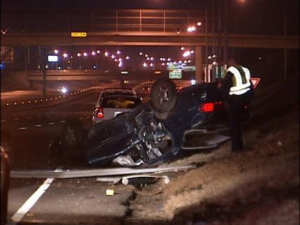 Rollover Crash Knocks Down Light Poles