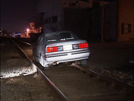 Car Stuck On Tulsa Railroad Tracks