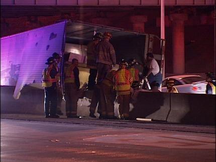 Semi Crashes On Tulsa Interstate