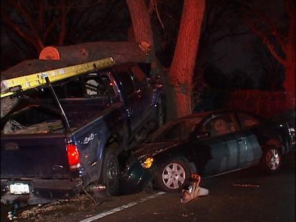 Tulsa Driver Loses Control, Crashes Into Tree