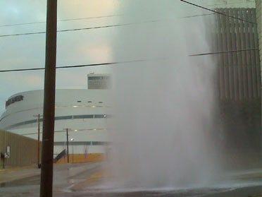 Downtown Tulsa Broken Water Line