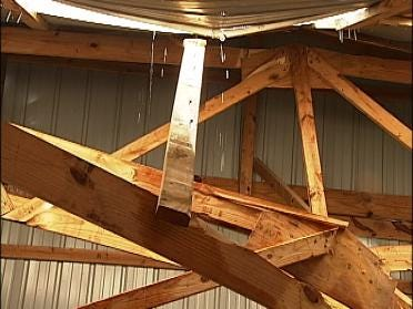 Oklahoma Ice Storm Takes Out Man's Barn