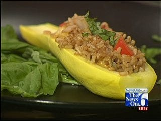 Squash Stuffed With Rice And Peppers