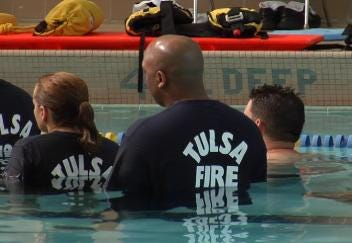 Tulsa Firefighters Practice Water Rescue Techniques