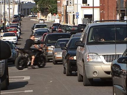 Tulsa Streets Very Busy Downtown