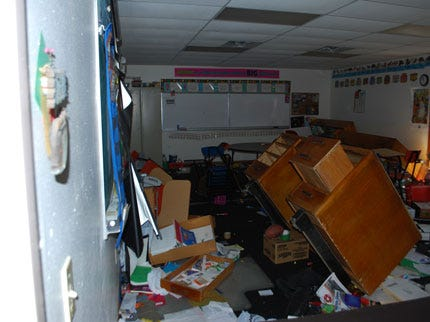 Whitefield School Employees Cleaning Up After Vandalism