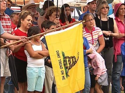 Tulsa Tea Party Protestors Demand Tax Freedom