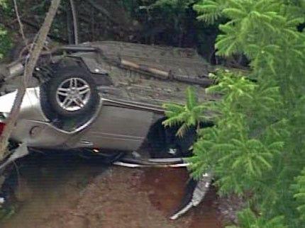 Car Lands Upside Down In Broken Arrow Creek