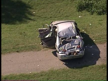 Single Car Crash Slows Traffic On Creek Turnpike