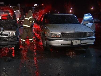 Tulsa Firefighters Respond To Double Vehicle Fire