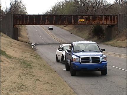 Tulsa Railroad Bridge Debris Smashes Truck Windshield