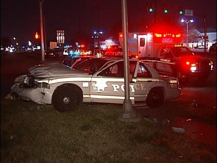 Tulsa Police Car Totaled In Accident