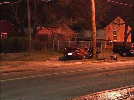 Driver Flees After Striking Tulsa Utility Pole