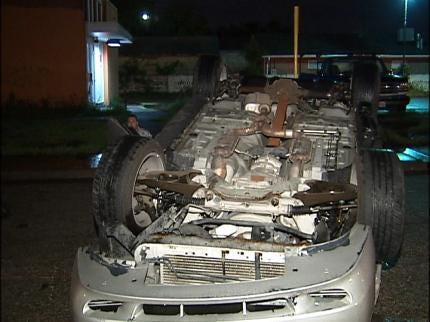 Man Hits Parked Car, Flips Vehicle