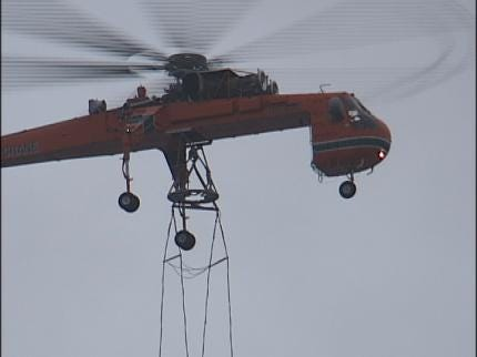 Helicopter Removes, Installs Tulsa Cooling Towers