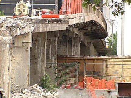 Crews Demolishing Old Downtown Tulsa Bridge