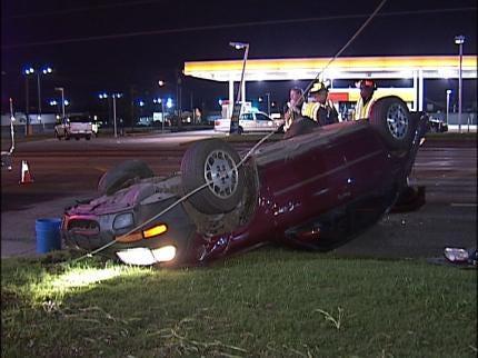 Driver Rolls Car Over On A Tulsa Street
