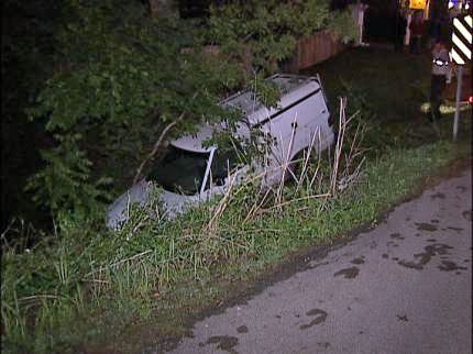 Pickup Truck Ends Up In Tulsa Creek
