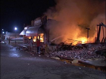 Downtown Haskell Goes Up In Flames