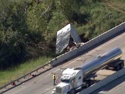 Two In Tulsa Hospital After Semi Runs Off Turner Turnpike