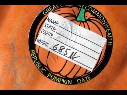 Haskell Gardener's Pumpkin Wins 4th Place In Missouri Weigh Off