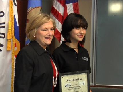 Middle School Student Wins City of Tulsa Essay Contest