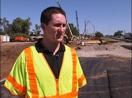 Massive Drainage Ditch Under Construction On I-44 In Tulsa