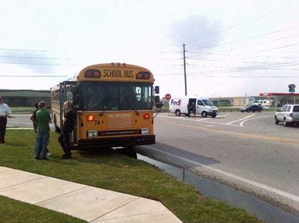 Jenks School Bus Clips Truck Thursday Afternoon