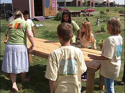 Students At Tulsa's Rosa Parks Elementary Build Peace Tables