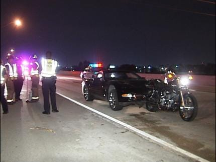 Corvette Collides With Motorcycle On Highway 169