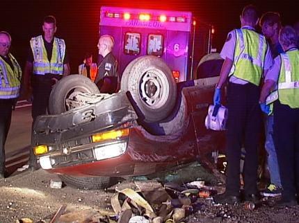 Teen Rolls His Pickup Truck On Tulsa Highway