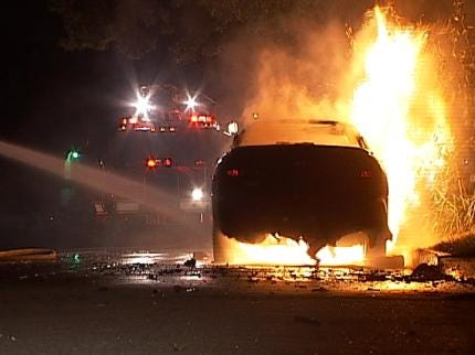 Tulsa Man Wakes To Find Car Engulfed In Flames