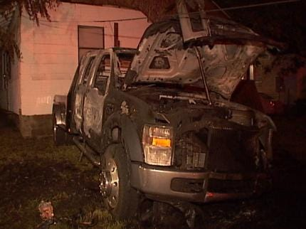 Pickup Truck Catches On Fire In Tulsa Backyard